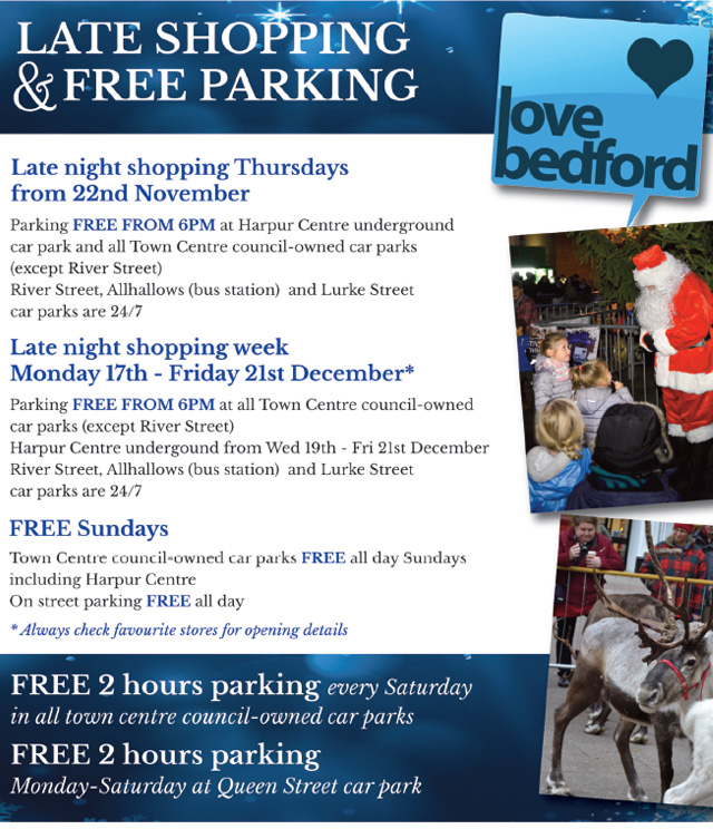 Bedford Christmas Late Night Shopping and Parking