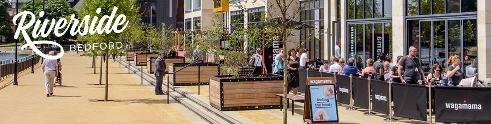 Riverside North restaurants and Vue cinema in Bedford