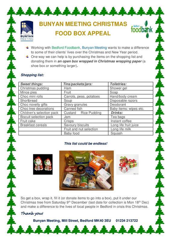 Love Bedford News Bunyan Meeting Christmas Food Box Appeal
