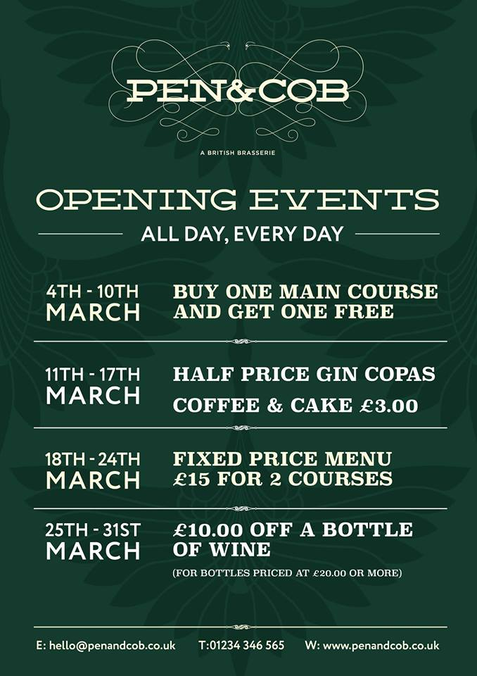 Fixed Price Menu - £15 for 2 courses at Pen & Cob (18th-24th March)